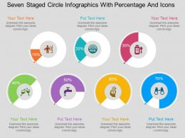 ms Seven Staged Circle Infographics With Percentage And Icons Flat Powerpoint Design