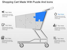 ms Shopping Cart Made With Puzzle And Icons Powerpoint Template