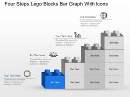 Mt Four Steps Lego Blocks Bar Graph With Icons Powerpoint Template Slide
