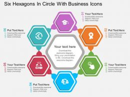 mt Six Hexagons In Circle With Business Icons Flat Powerpoint Design