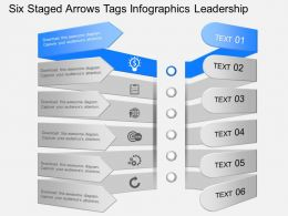 mt Six Staged Arrows Tags Infographics Leadership Powerpoint Template
