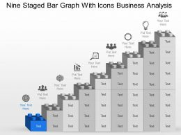 Mu Nine Staged Bar Graph With Icons Business Analysis Powerpoint Template Slide