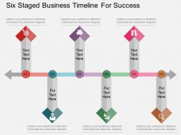 mu Six Staged Business Timeline For Success Flat Powerpoint Design