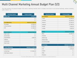 Multi Channel Marketing Annual Budget Plan Advertising W6 Ppt Ideas