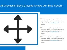 Multi Directional Black Crossed Arrows With Blue Square