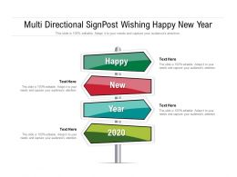 Multi Directional Signpost Wishing Happy New Year