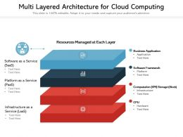 Multi Layered Architecture For Cloud Computing