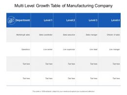 Multi Level Growth Table Of Manufacturing Company