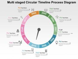 Multi Staged Circular Timeline Process Diagram Flat Powerpoint Design