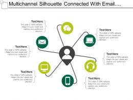 Multichannel Silhouette Connected With Email Messaging Calling And Mobile Communication