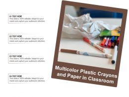 Multicolor Plastic Crayons And Paper In Classroom