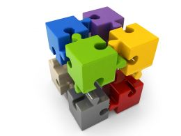 Multicolored 3d Puzzle Cubes On White Background Stock Photo