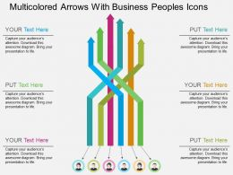 Multicolored Arrows With Business Peoples Icons Flat Powerpoint Design