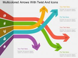 Multicolored Arrows With Twist And Icons Flat Powerpoint Design