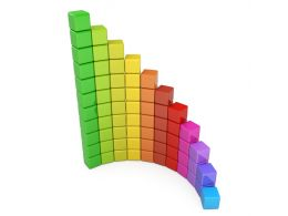 Multicolored Bar Graph Made Of Cubes For Business Growth Display Stock Photo