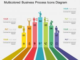 Multicolored Business Process Icons Diagram Flat Powerpoint Design