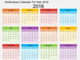 Multicolored Calendar For Year 2016 Flat Powerpoint Design