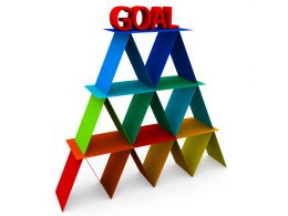 Multicolored Cards Pyramid With Word Goal On Top Stock Photo