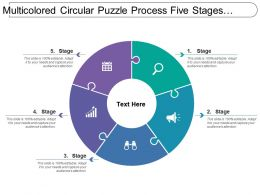 Multicolored Circular Puzzle Process Five Stages Image