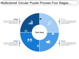 Multicolored Circular Puzzle Process Four Stages Image