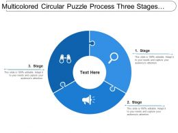 Multicolored Circular Puzzle Process Three Stages Image