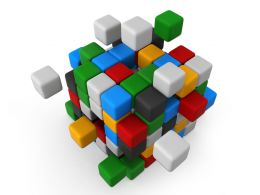 Multicolored Cubes Assembling Together As Team Stock Photo