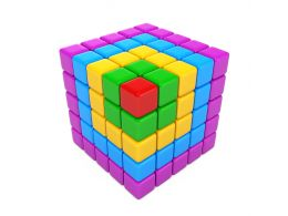 Multicolored Cubes With 3D Effect With One Red Cube As Leader Stock Photo