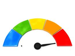 Multicolored Dashboard With Arrow Pointing On Maximum Stock Photo