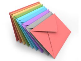 Multicolored Envelops Background Stock Photo