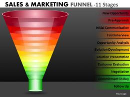 Multicolored Marketing Funnel Diagram With 11 Stages