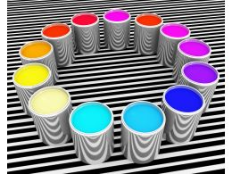 Multicolored Paint Buckets In Circle Stock Photo