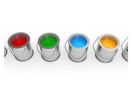 Multicolored Paint Buckets Stock Photo