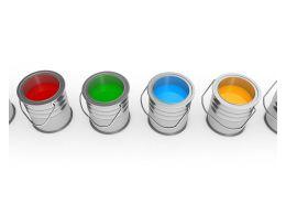 Multicolored Paint Buckets Stock Photo