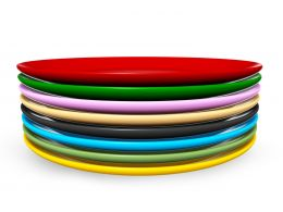 Multicolored Plates Making Tower Stock Photo