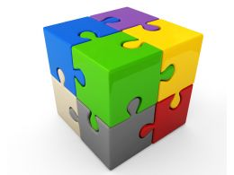 Multicolored Puzzle Cube For Teamwork Stock Photo