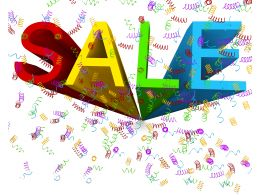 Multicolored Sale Graphic With 3d Effect And White Background Stock Photo