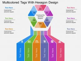 Multicolored Tags With Hexagon Design Flat Powerpoint Design