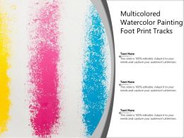 Multicolored Watercolor Painting Foot Print Tracks