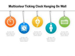 Multicolour Ticking Clock Hanging On Wall