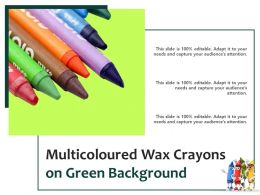 Multicoloured Wax Crayons On Green Background