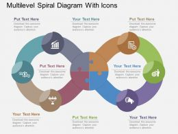 Multilevel Spiral Diagram With Icons Flat Powerpoint Design