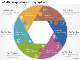 Multiple Apps Circle Infographics Flat Powerpoint Design