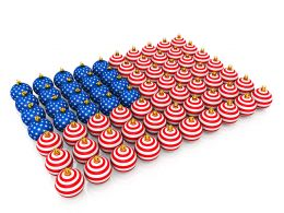 Multiple Balls Designing Flag Of America Stock Photo