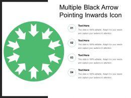 Multiple Black Arrow Pointing Inwards Icon