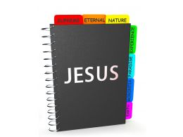 Multiple Book Marks In The Book Jesus Stock Photo