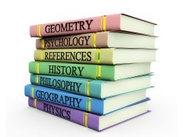Multiple Books Graphic With Subjects Text Stock Photo