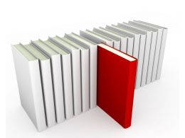 Multiple Books In Line With Red Book Coming Out As Leader Stock Photo
