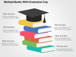 Multiple Books With Graduation Cap Flat Powerpoint Design