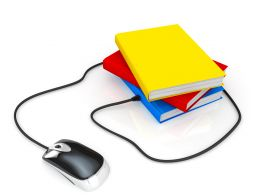 Multiple Books With Mouse And Wire For Technology Stock Photo