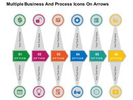 Multiple Business And Process Icons On Arrows Flat Powerpoint Design